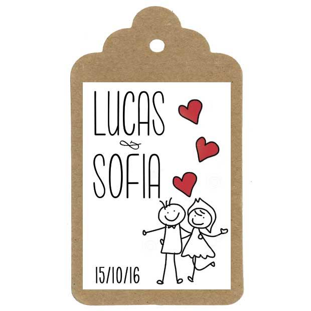 Miniatura regalo de boda con etiqueta personalizada