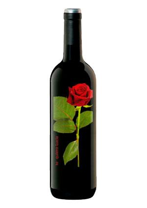 Botella rosas san valentin