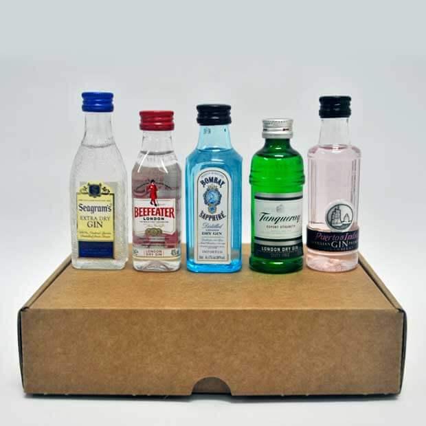 botellas en miniatura ginebra caja