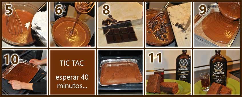 pasos para hacer Brownie de Jagermeister