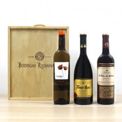 Caja Madera Bodegas Riojanas 3 botellas