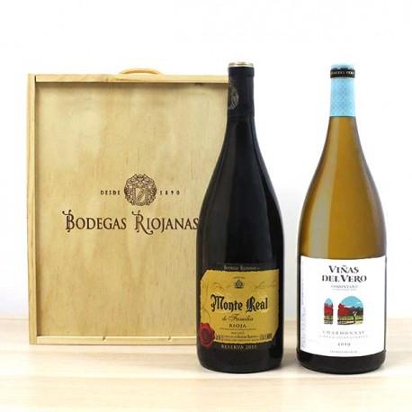 Caja madera magnum 2 botellas de vino para regalar