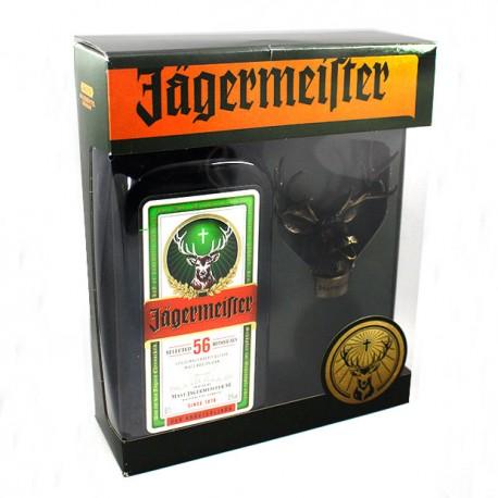 Caja botella Jagermeister con tapón cabeza de ciervo dosificador