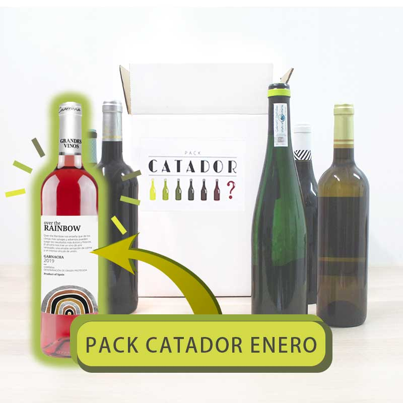 Pack Catador de enero con botella vino solidario Over the Rainbow