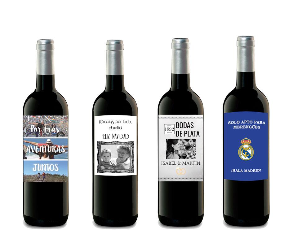 Botellas de vino personalizadas Navidad