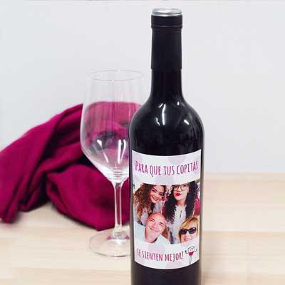 botella de vino personalizada foto familia